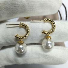 David Yurman Pearl Earrings 18K Gold Drop/Dangle Pierced Earrings for Women