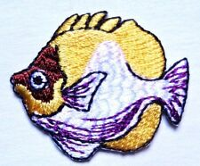 Iron On Patch Applique - Tropical Fish yellow & red