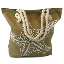 Large Starfish Beach Bag Beige Zip Fastener Rope Handles Holiday Travel Seaside