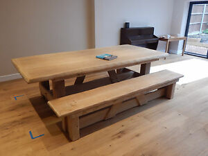 Large rustic English oak dining table reclaimed chunky solid furniture 16 seater