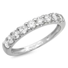 1ct Round Cut Stackable Bridal Wedding Petite Anniversary Band 14k White Gold