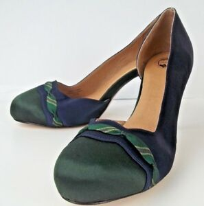 Lucky Penny Womens Shoes Heels 10.5 M Blue Green Satin Leather Sole Dorsay 2744