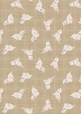 Cuarto gordo caído Westies natural cheque perros 100% algodón Quilting fabric