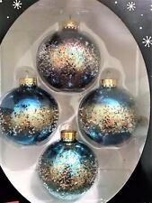 Beautiful Ombre Blue, Glitter & Gold w/ Microbead Ball Glass Christmas Ornaments