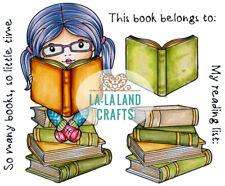 Reading Marci-Mini Marci W/ Books-La-La Land Crafts Rubber Stamp-Stamping Craft