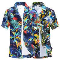 Mens Hawaiian Casual Shirts Short Sleeve Floral  Beach Shirts