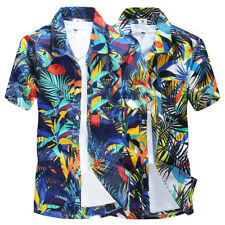 AU Mens Hawaiian Shirts Short Sleeve Camisa masculina Printed Beach Shirts Tops
