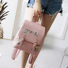 Girls Womens Flower Embroidered Backpack Faux Leather Satchel Bag Well New Bags