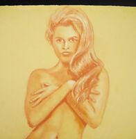 P Clouet Naked Woman Drawing Original Signed Towards 1960