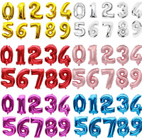 """32"""" Giant Foil Number Large Balloons Birthday Red Pink Blue Silver Gold Black UK"""