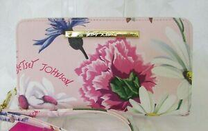 Betsey Johnson Floral Wallet Wristlet Zip Around Purse NWT
