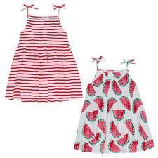 Filles 100% Coton Robe de soleil ~ Pastèques ou Rayures ~ 2-8 Years