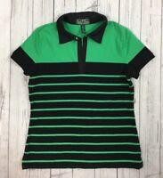 Women's L-RL Ralph Lauren Green and Black Striped Knit Top-Size L