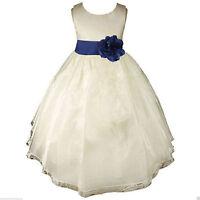 IVORY FLOWER GIRL DRESS ORGANZA EASTER COMMUNION PAGEANT RECITAL 18M 2 4 6 8 10