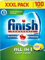 100 Finish Powerball All In One Dishwasher Tablets Lemon Sparkle XXXL  All in 1