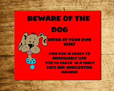 Funny Personalised Beware of the Dog Sign - Ideal pet lovers gift