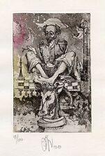 Don Quixote, Chess, Limited Edition  Ex libris Etching by Ruslan Agirba