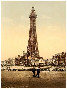 Blackpool The Tower Vintage photochrome print ca. 1890