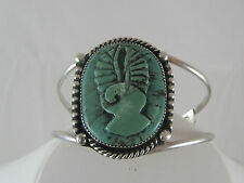 NAVAJO STERLING SILVER CARVED HAND CARVED  TURQUOISE NATIVE AMERICAN SIGNED BB