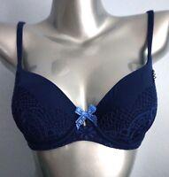 Victorias Secret Nwt Body by Victoria Blue Crochet Lace Lined Demi Bra 32C 32D