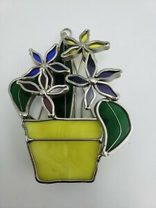 Tiffany Stained Glass Suncatcher Window Decoration Flowers In A Planter Pot ⭐