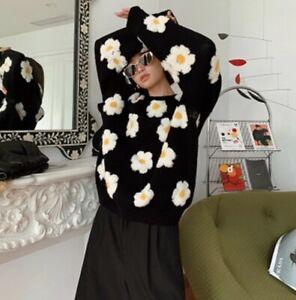 Black Yellow White Ditsy Fun Daisy Super Soft Knit  Loose Winter Jumper 8 10