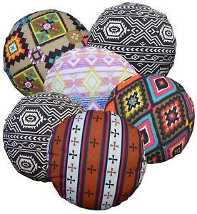 al Geometric Stripe Cotton Canvas Round Shape Pillow/Cushion Cover*Custom Size*
