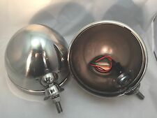 """Pair Dietz 7"""" Stainless Street Rod HeadLight Lamp Buckets Assembly Wired Bullet"""
