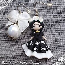 Orecchini Frida Kahlo ~ Cute Earrings Fimo Polymer Clay Kawaii Chibi Mexican