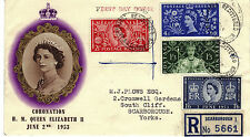 GB 1953 CORONATION Stamp Set 1st DAY COVERS South Cliff BO Scarborough PM RE:Y45