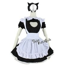 Lolita Maid Apron Dress Girl Black Mixed White Anime Cosplay Costume + Headband