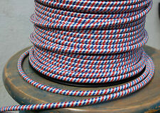 Rot Weiß & Blau Tuch Bedeckt 3-Wire Rund Kordel, Lampe Hängeleuchte Vintage Fan