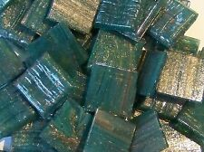 "25 Mosaic Tiles 3/4"" Blue Green Adventurine Gold Italian Glass Supplies #767"
