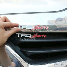 White TRD-Sports Metal Front Grille Emblem + Sticker corolla Decal Badge Turbo