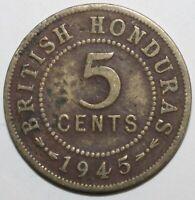 British Honduras 5 Cents Coin 1945 KM# 22a Britain UK King George VI Five Belize