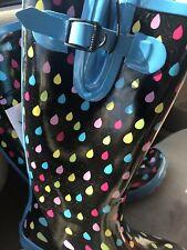 Serra Rubber Rain Boots Multicolor Raindrops Size 8