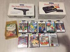 lot sega master system / Console / Light Phaser / 10 Jeux / Blister Rigide/ Neuf