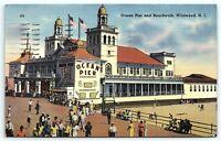 VTG Postcard NJ New Jersey Linen Ocean Pier Boardwalk Wildwood Stamp 1939 1c B6