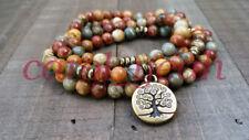 Natural Picasso mala bracelet pendant necklace tassel yoga tree of life 8MM108