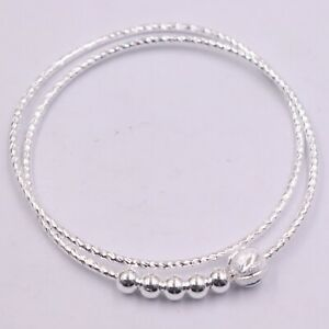 Fine Real S999 Sterling Silver Bracelet Women 7mm Wave Smooth Bead Bangle 58mm