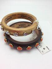 $50 Betsey Johnson Throwback Betsey Wood Bracelets V17