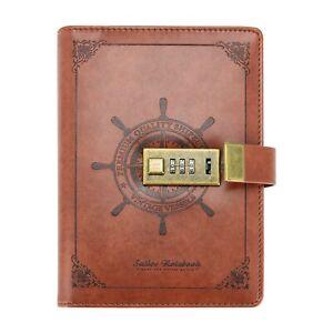 Retro PU Leder Notizbuch Tagebuch Memobuch Kladde mit Schloss 112Seite