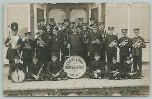 Cleveland North Dakota~Town Brass Band~Men & Boys in Uniform~1909 RPPC