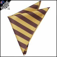 Mens Yellow & Brown Striped Pocket Square Handkerchief Hanky