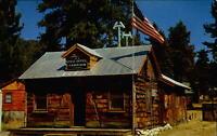 Post Office ~ Fawnskin California ~ log construction ~ 1950s postcard