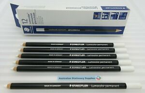 6 x WHITE Staedtler Glasochrom Chinagraph Lumo Pencil in stock