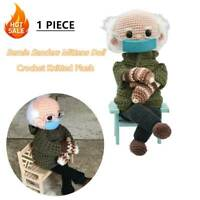 Bernie Sanders Mittens Doll Crochet Knitted Plush Toy Stuffed Figure Doll Gift