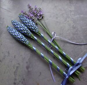 Lavender Filled Handwoven Wands 3 Medium Antique Blue Double Sided Satin Ribbon