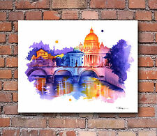 Rome Skyline Abstract Watercolor Painting Art Print by Artist DJ Rogers