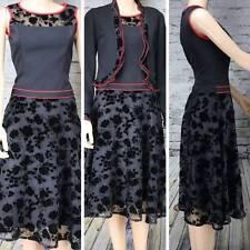 ESTHER Vtg Fit Flare Dress Sheer 2 piece jacket Red/Black velour floral M 6/8